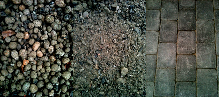 Lecakuler, sand (strengt tatt heter det subbus når den har så store korn i seg) og betongheller av typen Herregård (fint skal det være).
