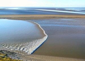 Bølge på Morecambe Bay i England. Foto: Wikimedia Commons